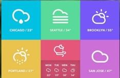 Win8 Metro Style Weather Widget PSD