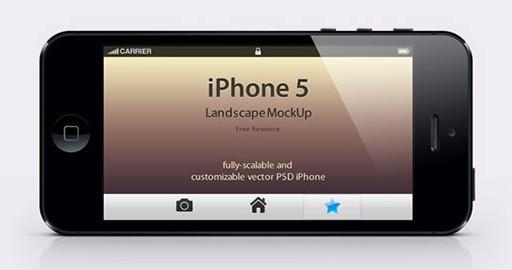 iPhone 5 Landscape Mockup PSD