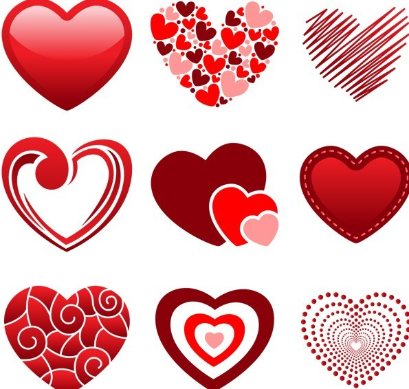 Set Of Valentine's Day Red Hearts
