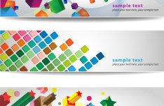 Set of Abstract Vector Banner with Colored Blocks 02