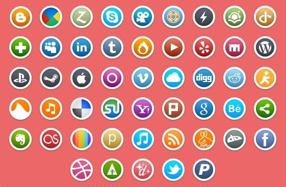 Circle Social Media Icons with White Border