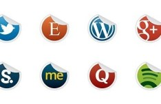 Neat and Clearn Social Media Label Icons Set 05