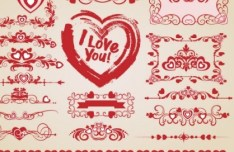 Valentine's Day Vector Border with Red Patterns 02