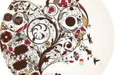 Vector Disc Cover with Flourishes Background