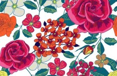 Vintage Hand-drawn Style Florals Background Vector 03