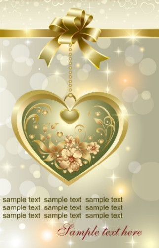 Fantastic Golden Valentine's Day Card with Hearts and Ribbons 01