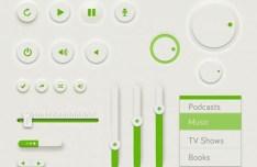 Sleek Green UI Kit PSD