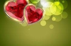 Valentine's Day Abstract Vector Background with Red Hearts 02