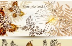 Elegant Vector Background with Butterflies and Florals 01