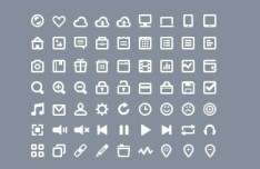 Simple White Web Icon Set (PSD)