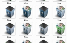 3D Computer Recycle Bin Icon Set