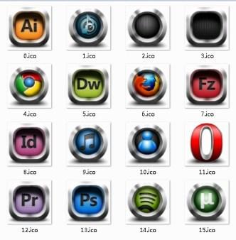 Sleek Design Software Icons with Metallic Borders