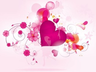 Pink Valentine's Day Florals and Hearts Vector