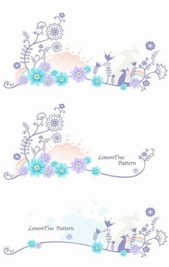 Set of Spring Lemon Tree Vector Patterns