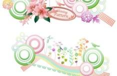 Set of Spring Shining Vector Patterns