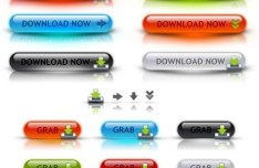 3D Glossy Download Buttons PSD
