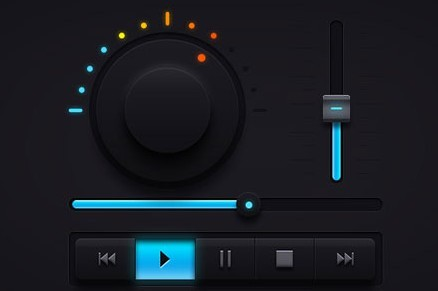 Black and Blue Audio Player GUI PSD