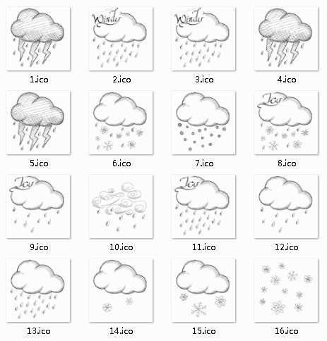 Hand Drawn Sketch Weather Icon Set