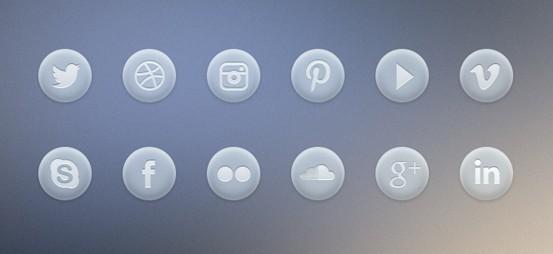 Light Gray Social Icons Set PSD