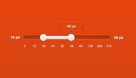 Orange and White Range Slider PSD