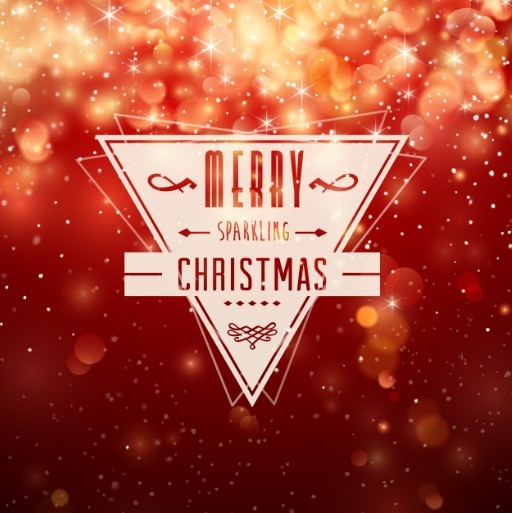 Vector Merry Christmas Label with Fantastic Halo Background
