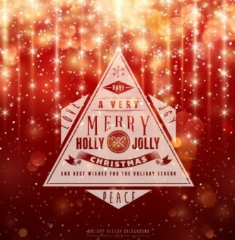 Vector Merry Christmas Label with Shining Background