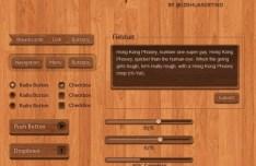 Wooden Web UI Elements PSD