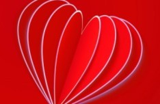 3D Red Heart Greeting Card Template Vector 01
