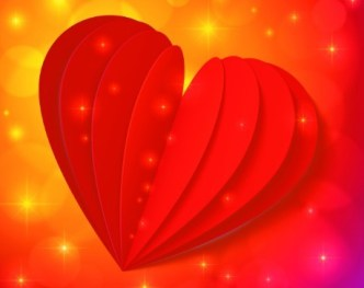 3D Red Heart Greeting Card Template Vector 02