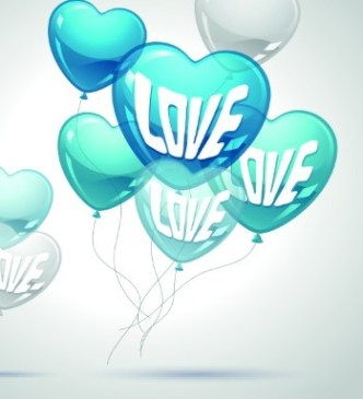 Blue and White Transparent Heart-Shaped Balloons Vector