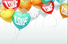Green, Yellow, and Red Transparent Heart-Shaped Balloons Vector