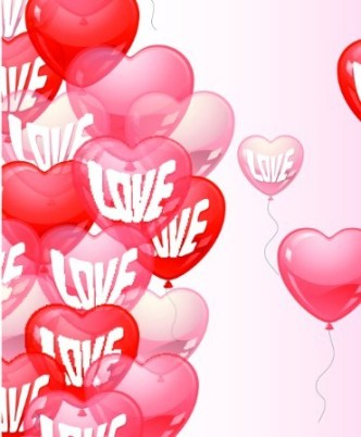 Pink and Red Transparent Heart-Shaped Balloons Vector