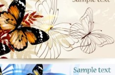 Set Of Vector Spring Backgounds with Butterflies and Florals