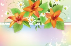 Vintage Spring Florals Background Vector 01