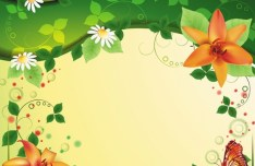 Vintage Spring Florals Background Vector 04