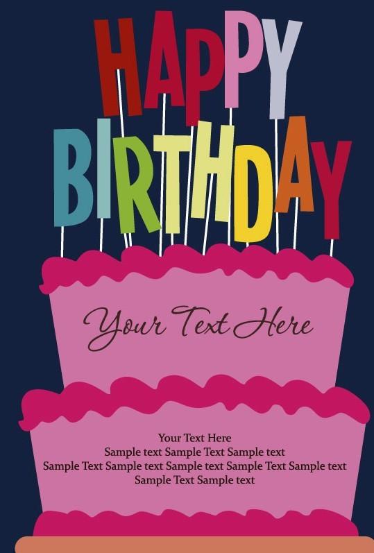 Free Cartoon Happy Birthday Post Card Vector 03 Titanui