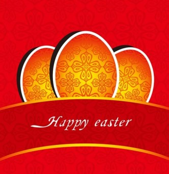 Happy Easter Card with Vintage Pattern Background Vector 04