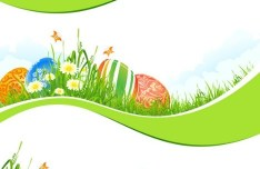 Spring Green Happy Easter Background Vector