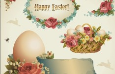 Vintage Happy Easter Design Elements Vector