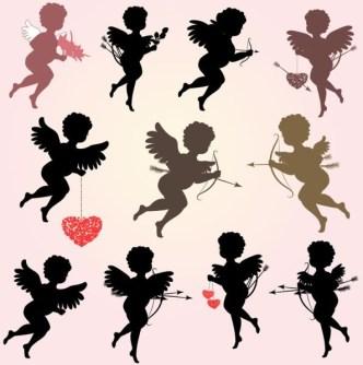 Set Of Vector Eros Cupid Silhouettes