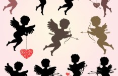Set Of Vector Eros Cupid Silhouettes