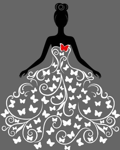 Creative Wedding Dress Design Vector Illustration 02