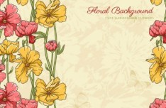 Cute Vintage HandDrawn Flowers Vector 03