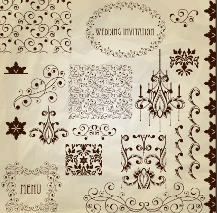 Set of Vintage Vector Floral Pattern Borders and Frames 05