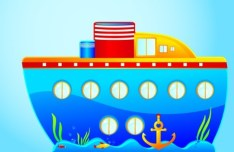 Colored Cartoon Ocean and Transport Elements Vector 02
