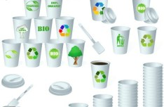 ECO & BIO Concept Paper Cups Vector 01