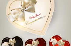 Set of Heart-Shaped Invitation Cards Vector