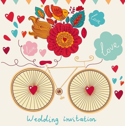 Free Hand Drawn Wedding Invitation Card Design Template 03 Anui