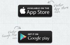Vector App Store and Google Play Button