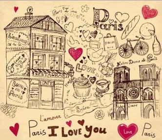 Set of Hand Drawn Romance in Paris Elements Vector 02